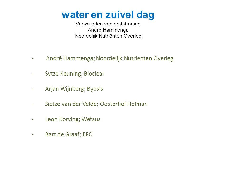 water en zuivel dag Verwaarden van reststromen André Hammenga Noordelijk Nutriënten Overleg