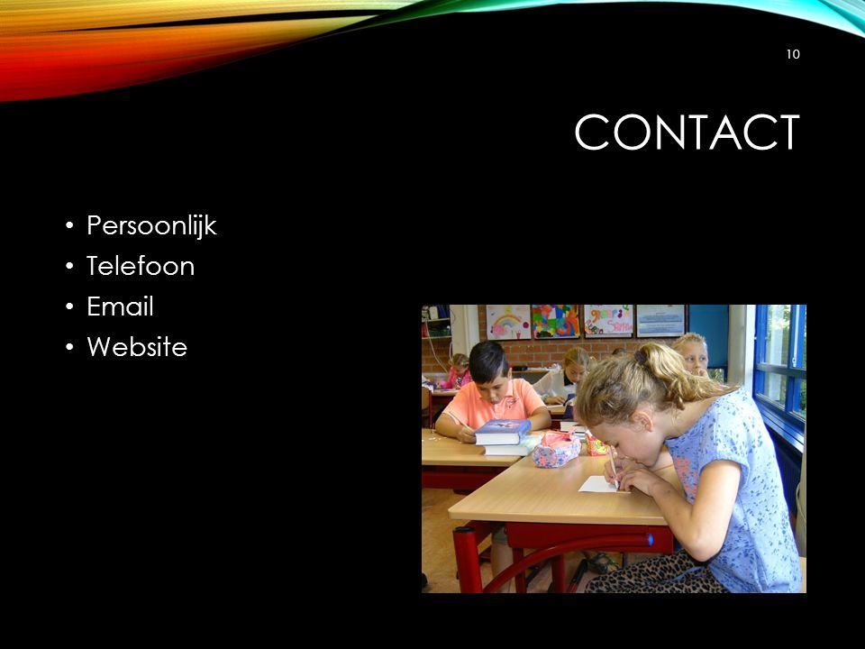 Contact Persoonlijk Telefoon Email Website