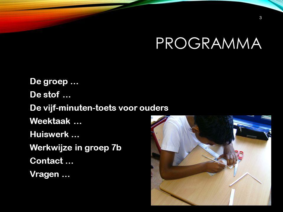 Programma De groep … De stof … De vijf-minuten-toets voor ouders Weektaak … Huiswerk … Werkwijze in groep 7b Contact … Vragen …