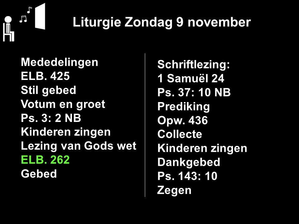 Liturgie Zondag 9 november