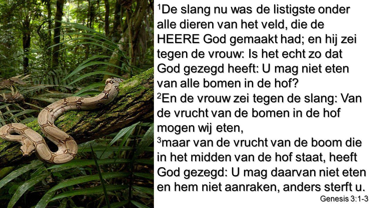 1De slang nu was de listigste onder alle dieren van het veld, die de HEERE God gemaakt had; en hij zei tegen de vrouw: Is het echt zo dat God gezegd heeft: U mag niet eten van alle bomen in de hof
