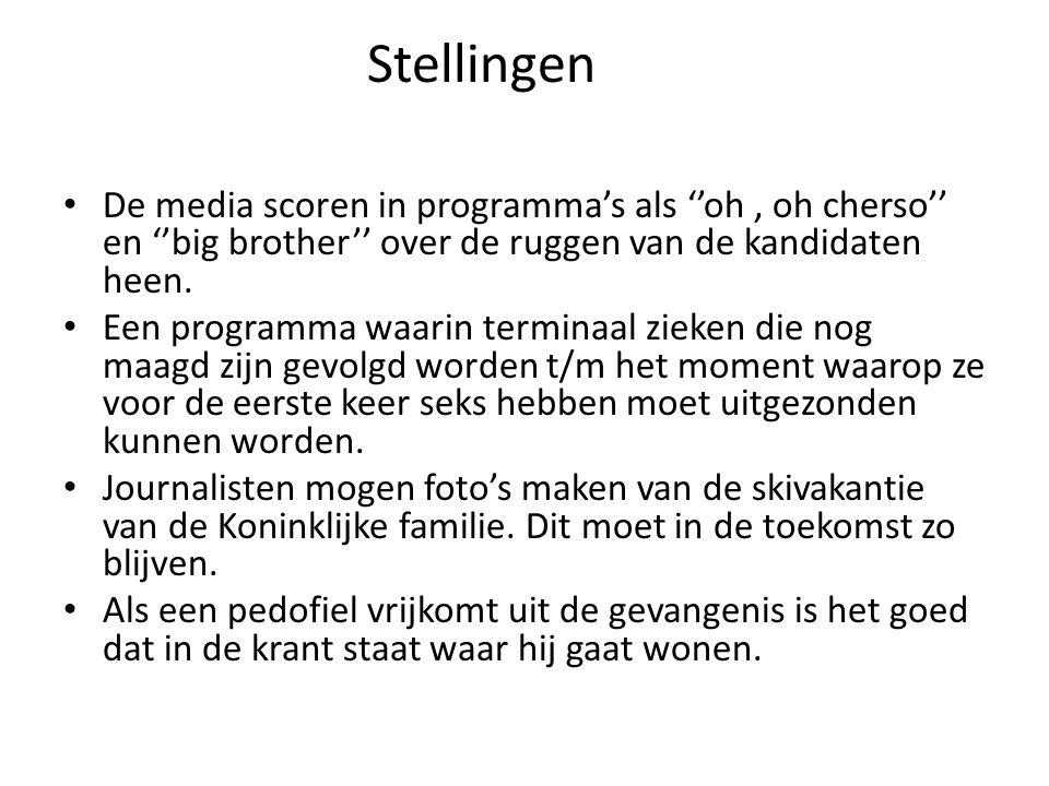 Stellingen De media scoren in programma's als ''oh , oh cherso'' en ''big brother'' over de ruggen van de kandidaten heen.