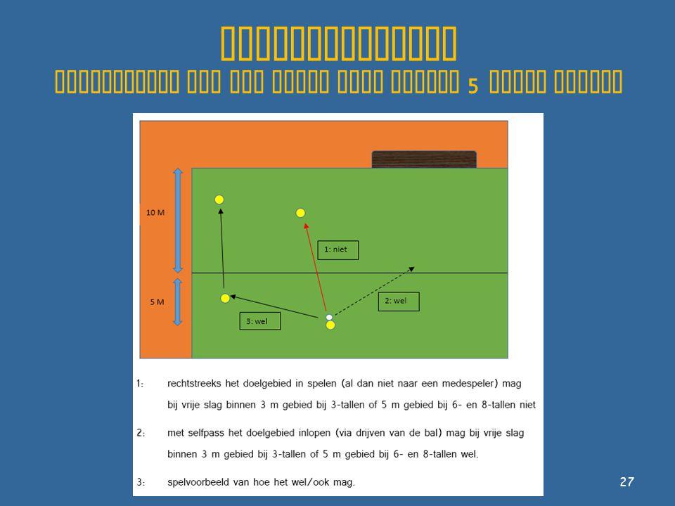Spelhervatting voorbeelden van een vrije slag binnen 5 meter gebied