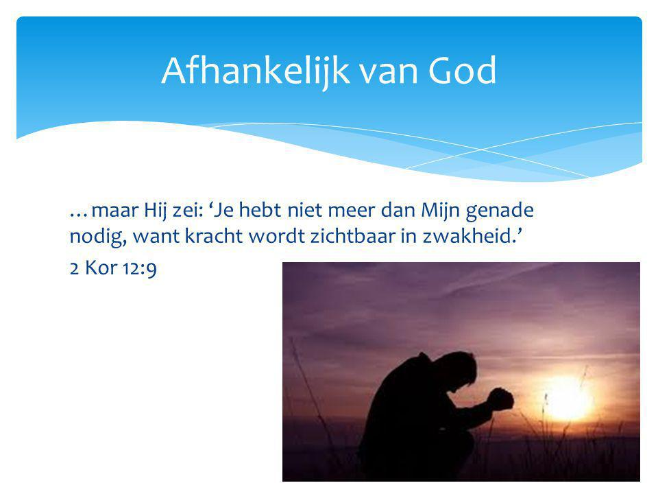 Afhankelijk van God …maar Hij zei: 'Je hebt niet meer dan Mijn genade nodig, want kracht wordt zichtbaar in zwakheid.'
