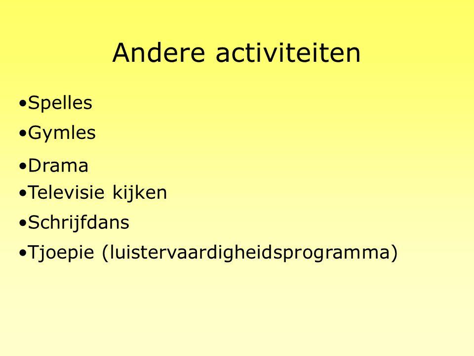 Andere activiteiten Spelles Gymles Drama Televisie kijken Schrijfdans