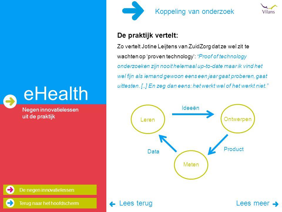 eHealth Koppeling van onderzoek De praktijk vertelt: Lees terug