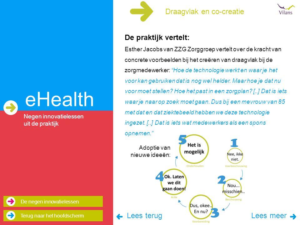 eHealth Draagvlak en co-creatie De praktijk vertelt: Lees terug