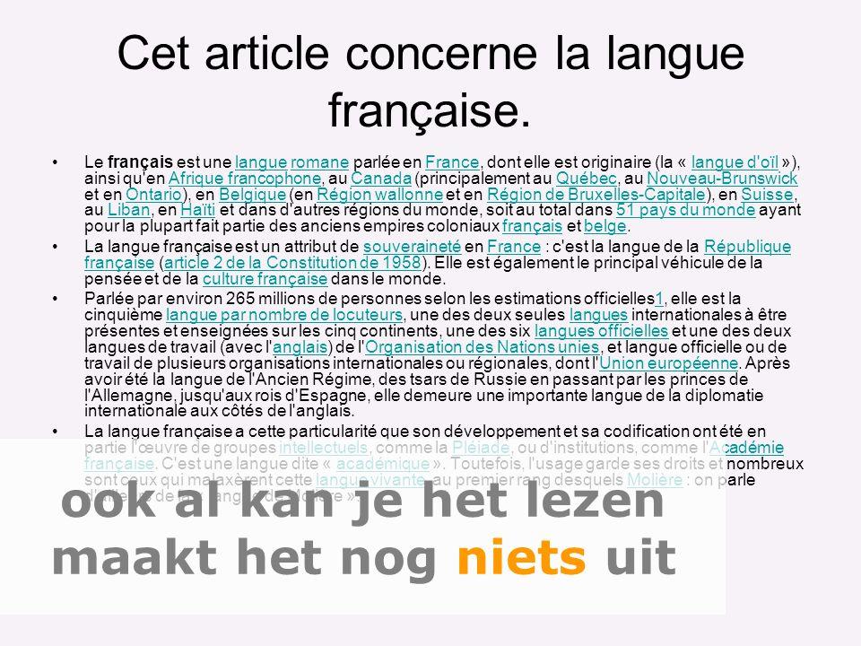 Cet article concerne la langue française.