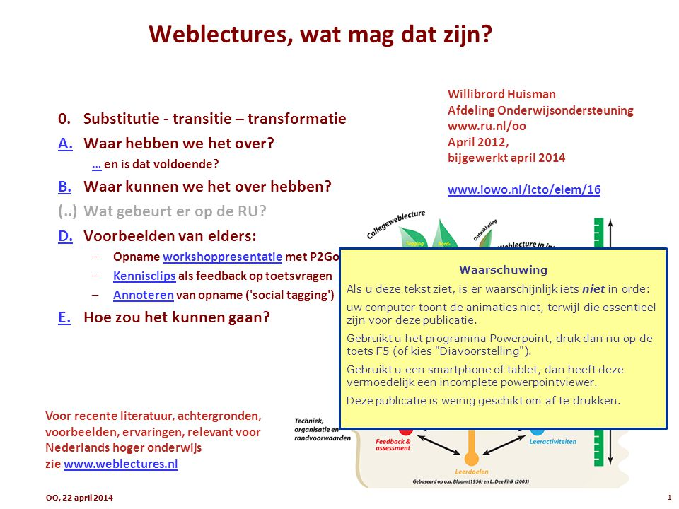 Weblectures, wat mag dat zijn
