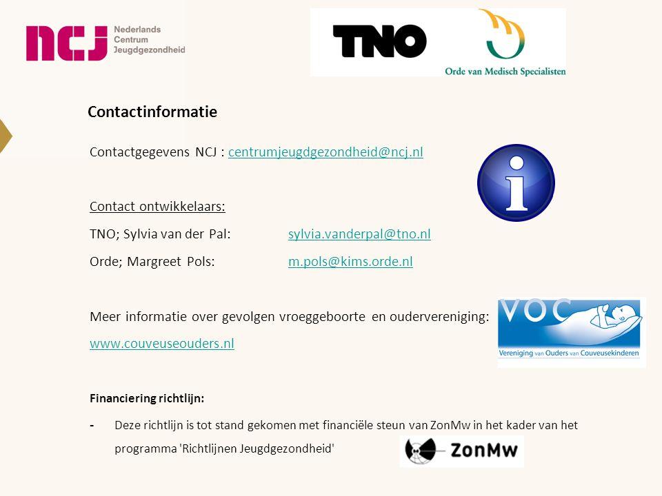 Contactinformatie Contactgegevens NCJ : centrumjeugdgezondheid@ncj.nl. Contact ontwikkelaars: TNO; Sylvia van der Pal: sylvia.vanderpal@tno.nl.