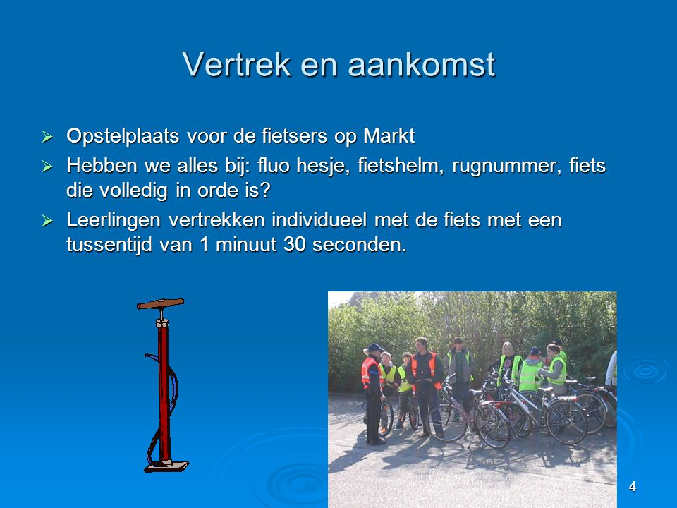 Vertrek en aankomst Opstelplaats voor de fietsers op Markt