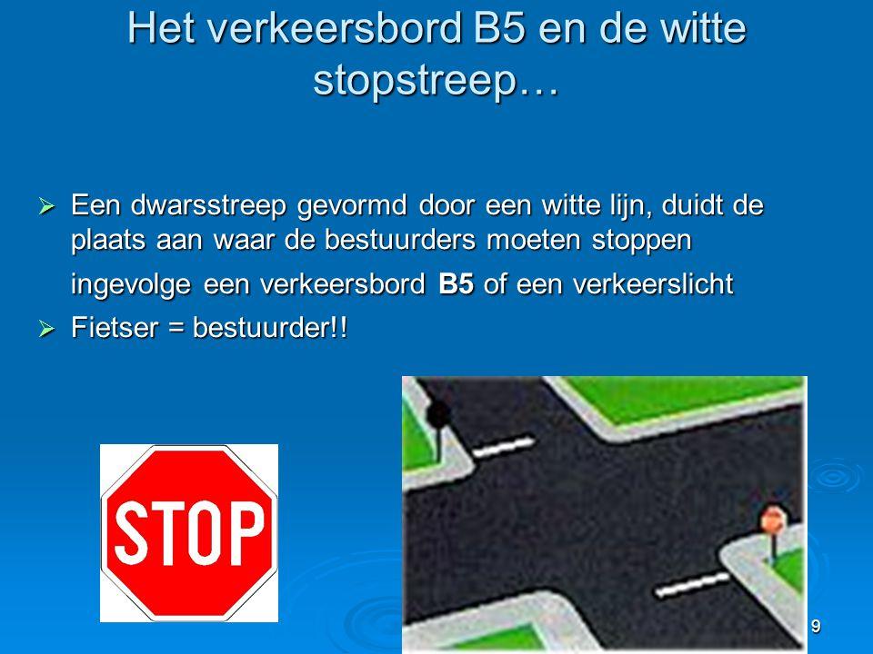 Het verkeersbord B5 en de witte stopstreep…