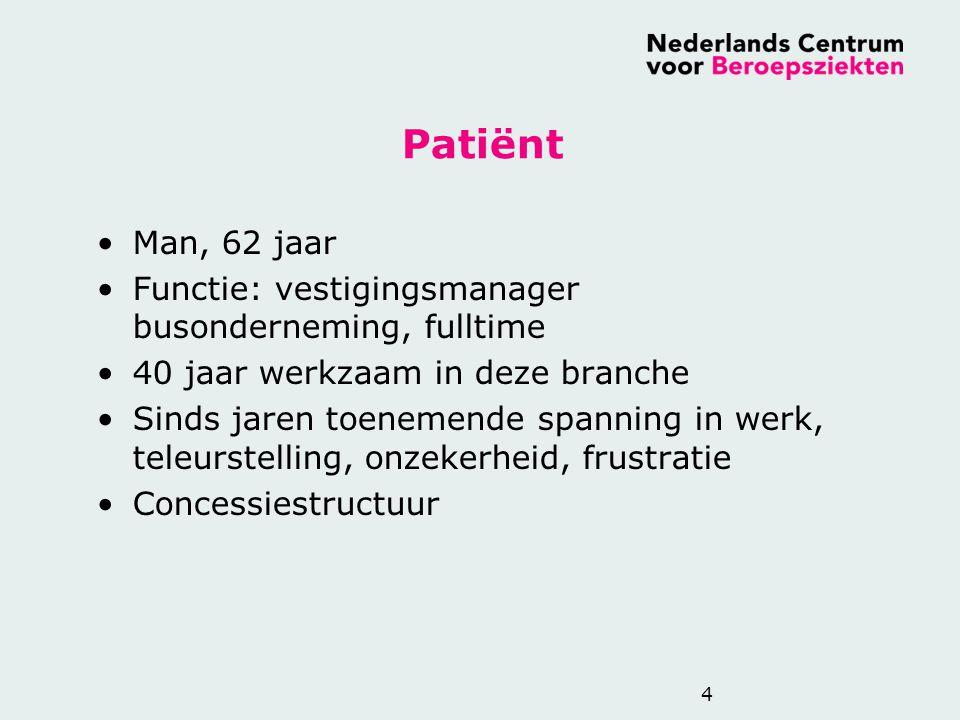 Patiënt Man, 62 jaar. Functie: vestigingsmanager busonderneming, fulltime. 40 jaar werkzaam in deze branche.