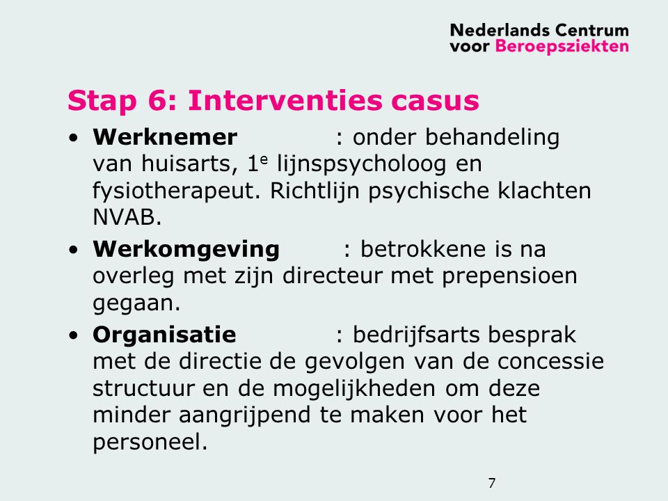 Stap 6: Interventies casus