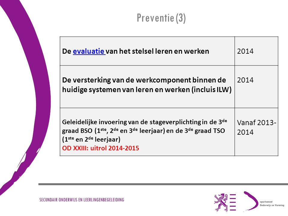 Preventie (3) De evaluatie van het stelsel leren en werken 2014