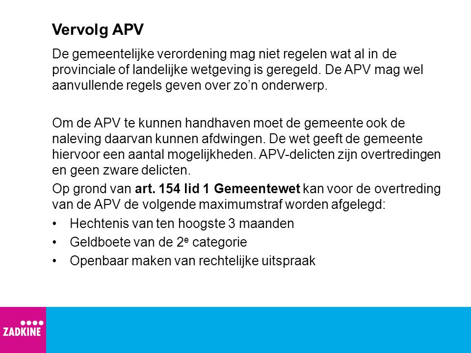 Vervolg APV