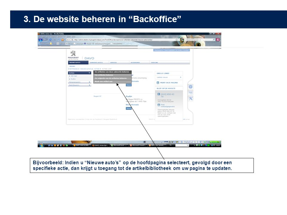 3. De website beheren in Backoffice