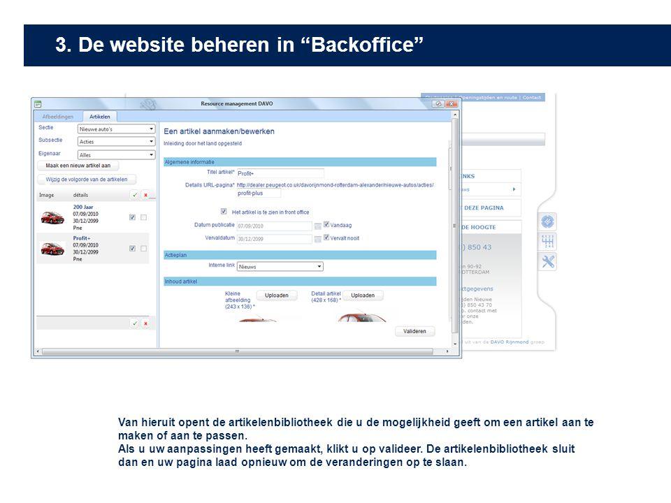 3. De website beheren in Backoffice
