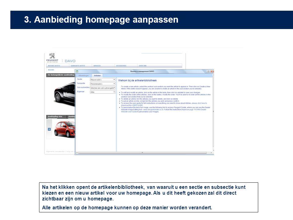 3. Aanbieding homepage aanpassen
