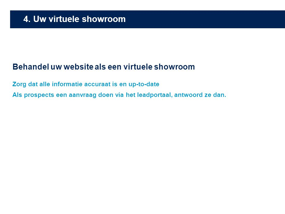 4. Uw virtuele showroom Behandel uw website als een virtuele showroom