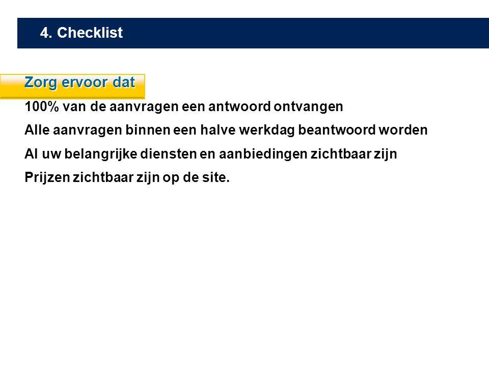 4. Checklist Zorg ervoor dat