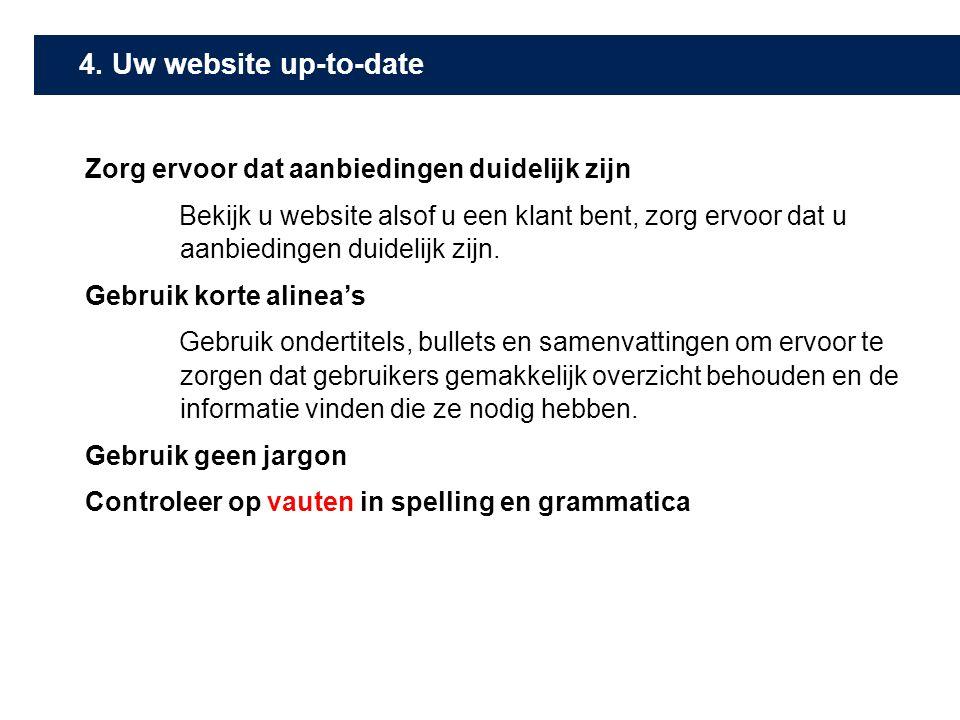4. Uw website up-to-date Zorg ervoor dat aanbiedingen duidelijk zijn