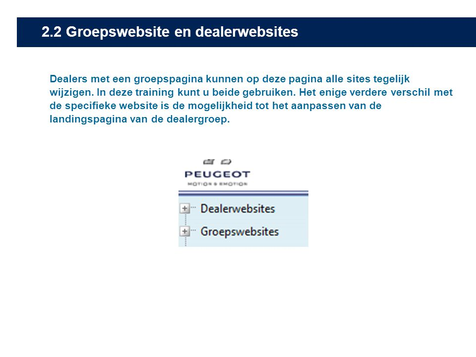2.2 Groepswebsite en dealerwebsites