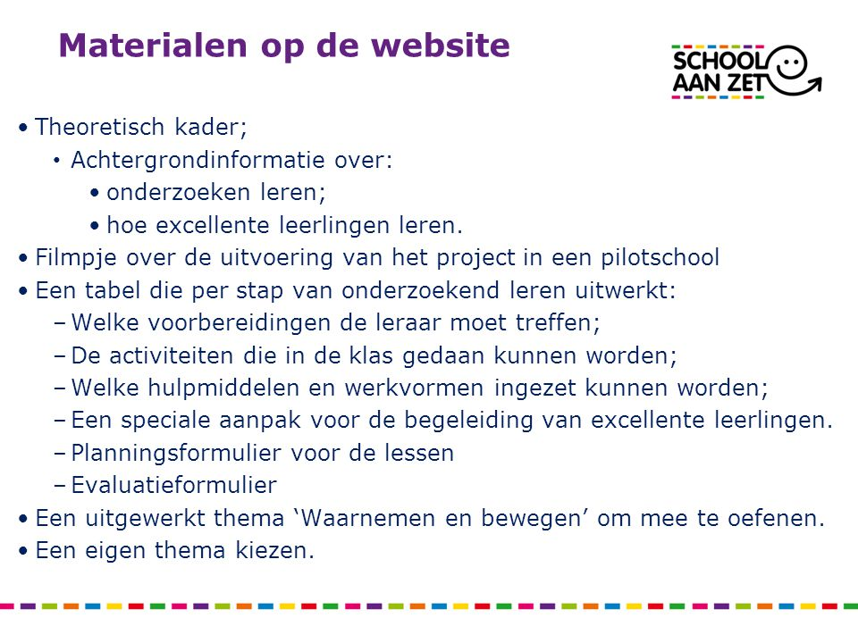 Materialen op de website