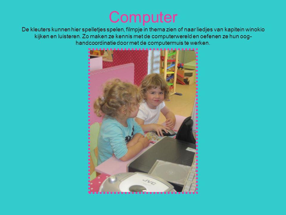 Computer De kleuters kunnen hier spelletjes spelen, filmpje in thema zien of naar liedjes van kapitein winokio kijken en luisteren.