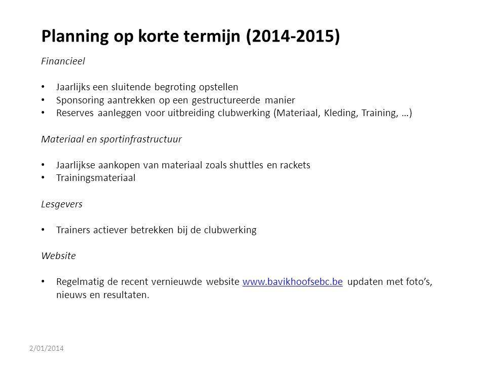Planning op korte termijn (2014-2015)