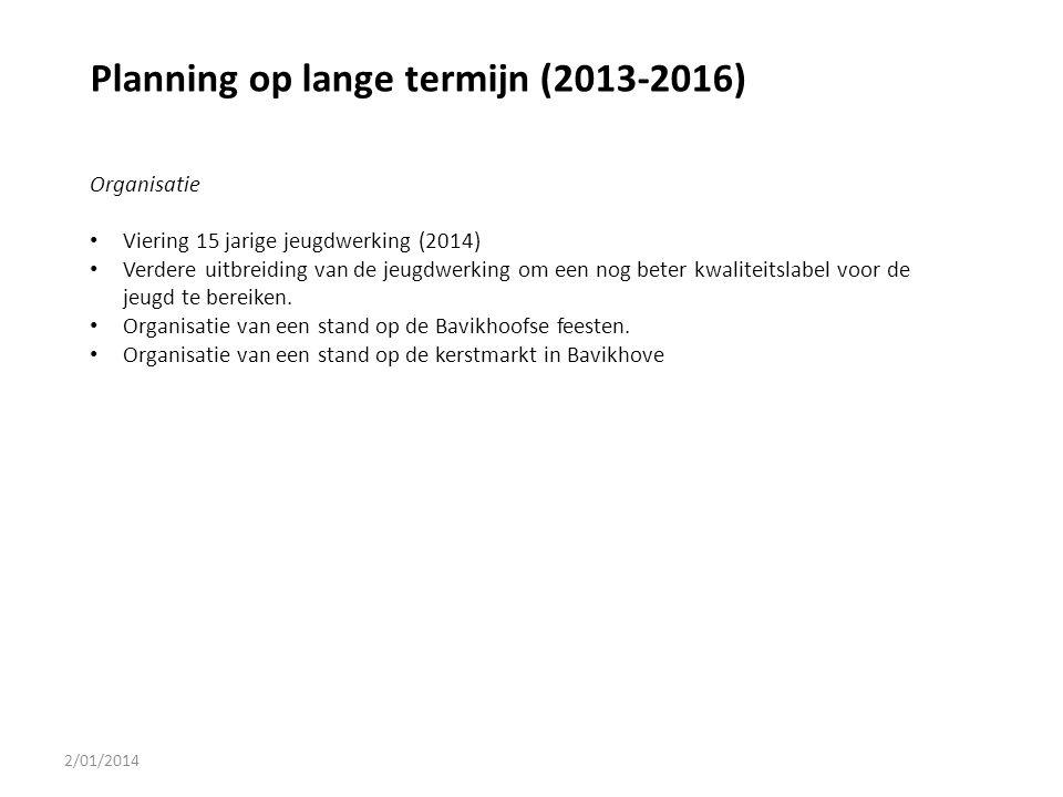 Planning op lange termijn (2013-2016)