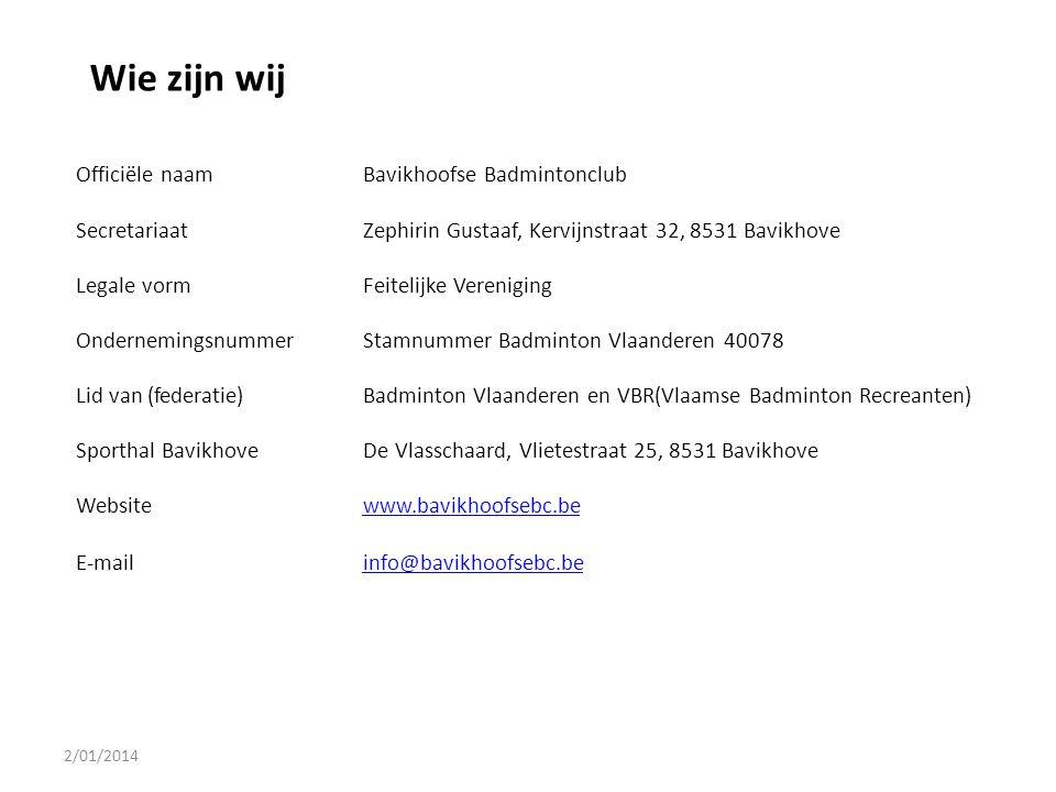 Wie zijn wij Officiële naam Bavikhoofse Badmintonclub Secretariaat