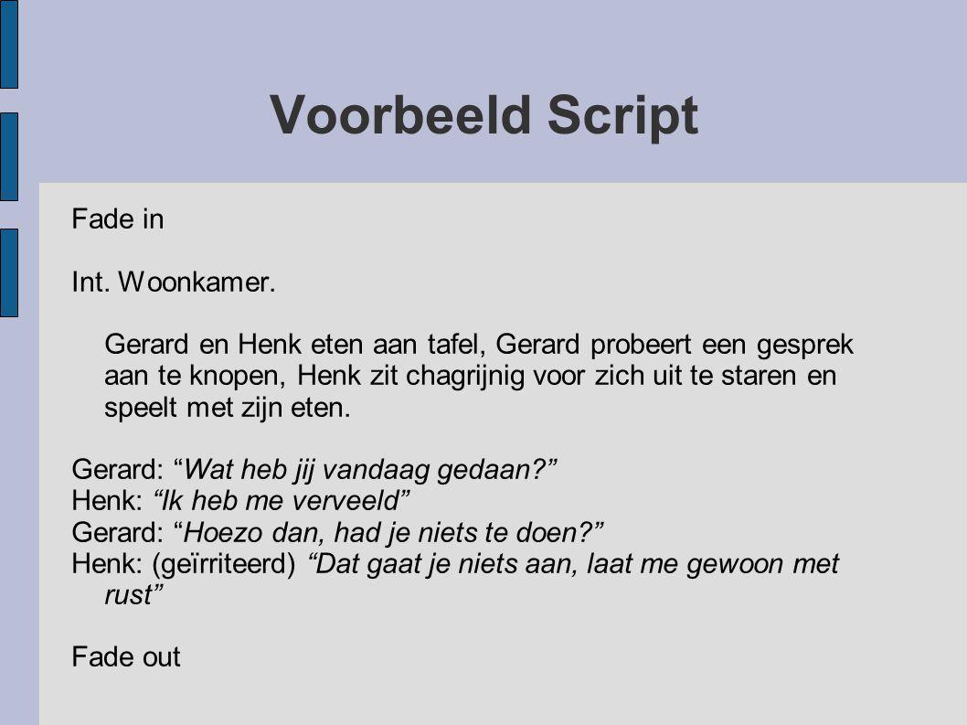 Voorbeeld Script Fade in Int. Woonkamer.