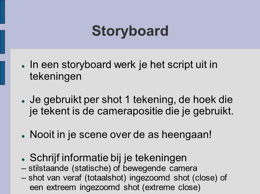 Storyboard In een storyboard werk je het script uit in tekeningen