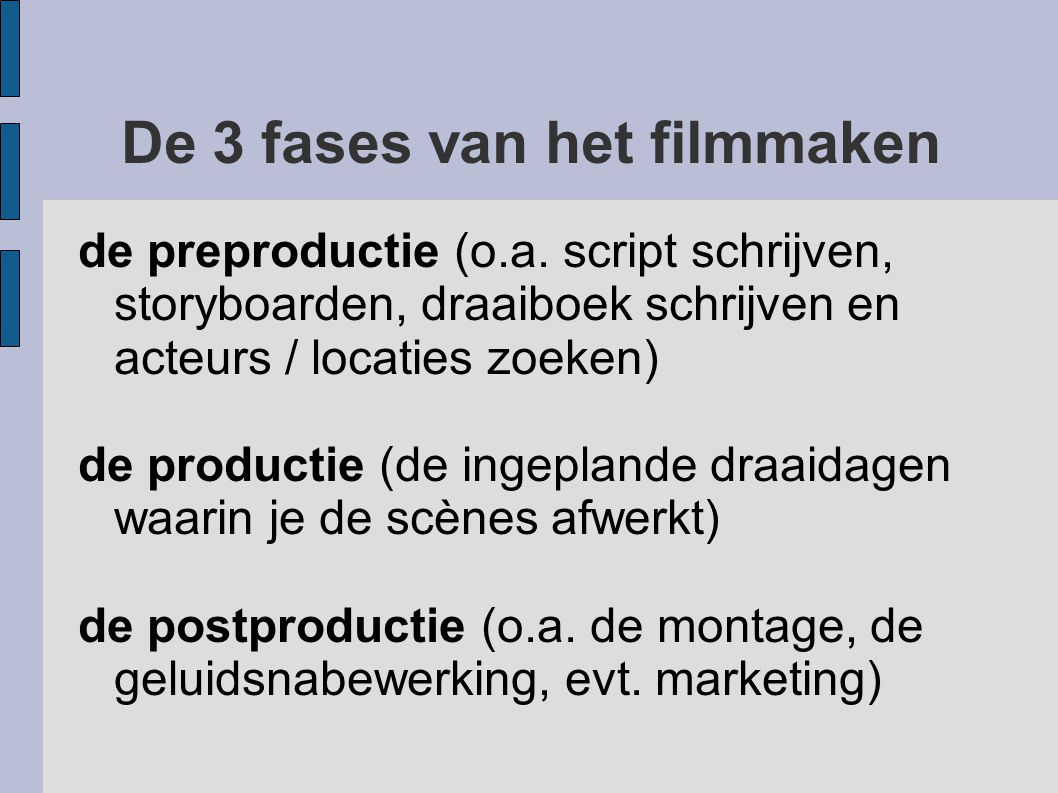 De 3 fases van het filmmaken