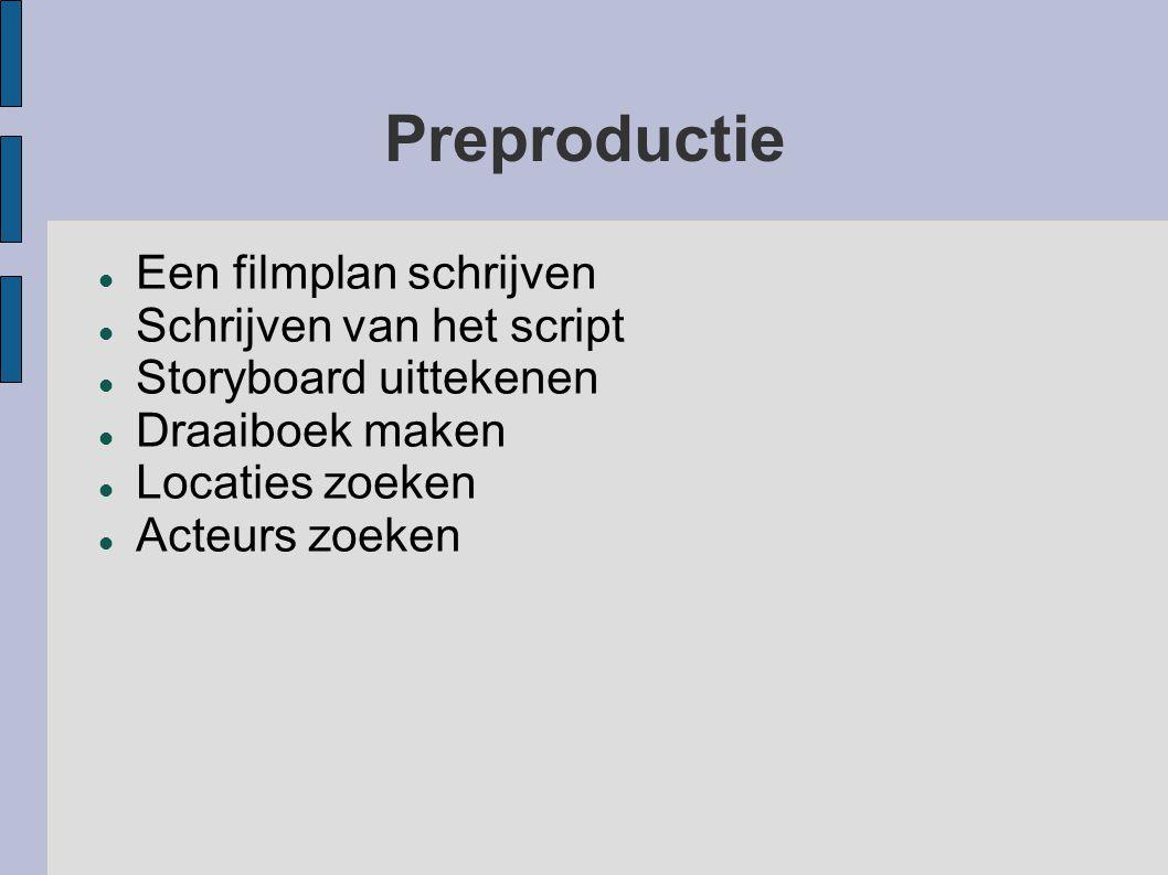 Preproductie Een filmplan schrijven Schrijven van het script