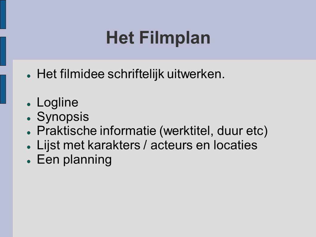 Het Filmplan Het filmidee schriftelijk uitwerken. Logline Synopsis