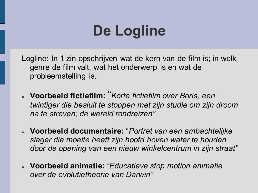 De Logline Logline: In 1 zin opschrijven wat de kern van de film is; in welk genre de film valt, wat het onderwerp is en wat de probleemstelling is.