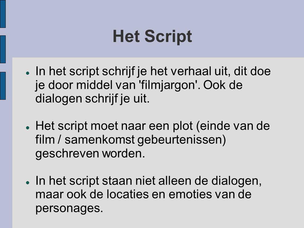 Het Script In het script schrijf je het verhaal uit, dit doe je door middel van filmjargon . Ook de dialogen schrijf je uit.