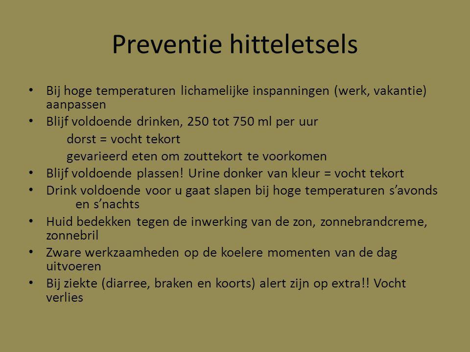 Preventie hitteletsels