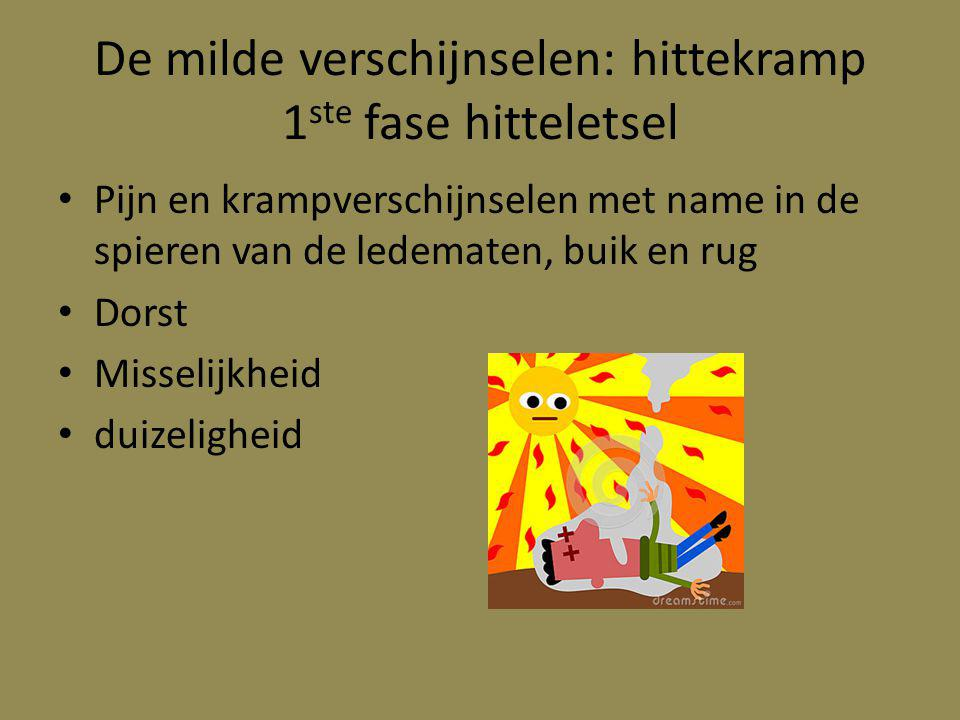 De milde verschijnselen: hittekramp 1ste fase hitteletsel