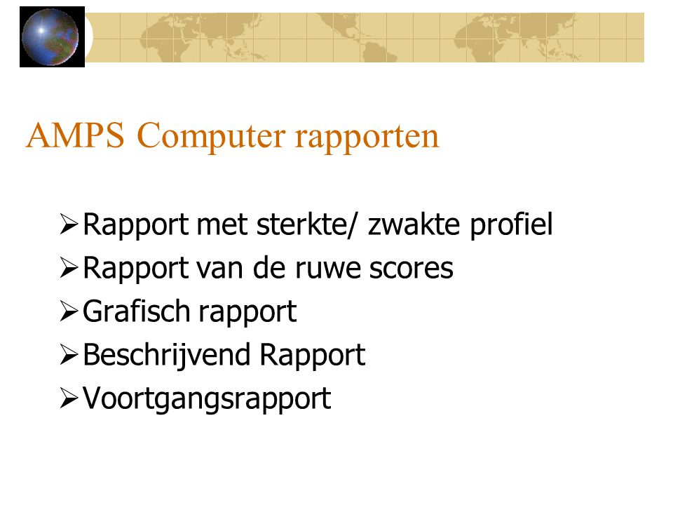AMPS Computer rapporten