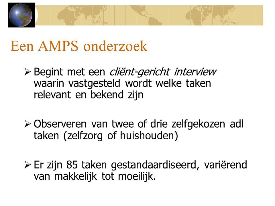Een AMPS onderzoek Begint met een cliënt-gericht interview waarin vastgesteld wordt welke taken relevant en bekend zijn.