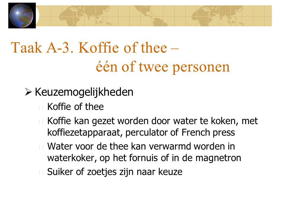 Taak A-3. Koffie of thee – één of twee personen