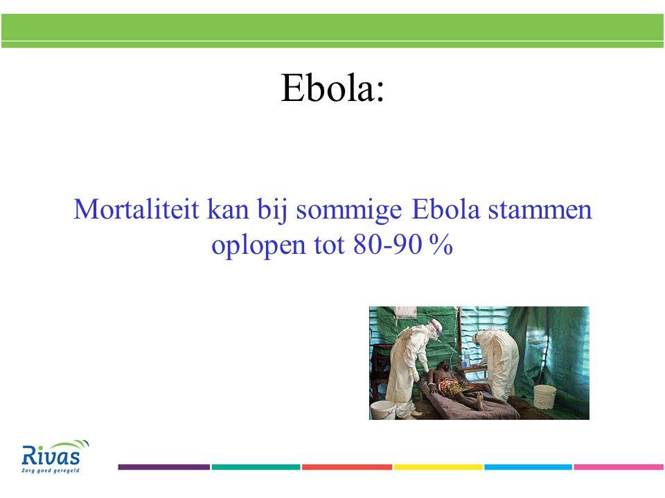 Mortaliteit kan bij sommige Ebola stammen oplopen tot 80-90 %