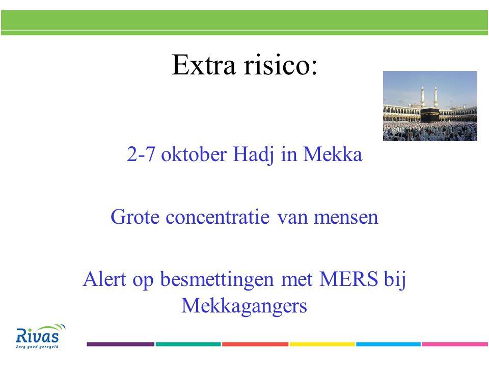 Extra risico: 2-7 oktober Hadj in Mekka Grote concentratie van mensen Alert op besmettingen met MERS bij Mekkagangers