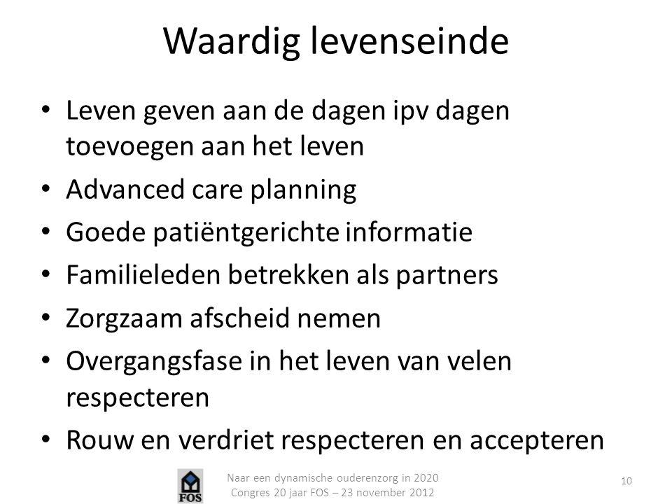 Waardig levenseinde Leven geven aan de dagen ipv dagen toevoegen aan het leven. Advanced care planning.