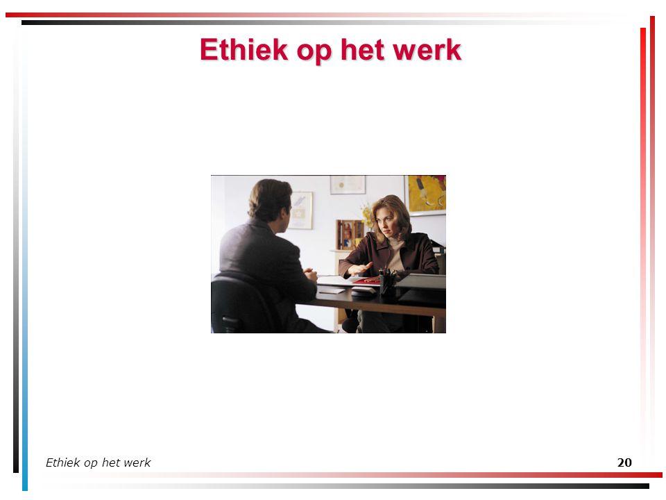 Ethiek op het werk Ethiek op het werk