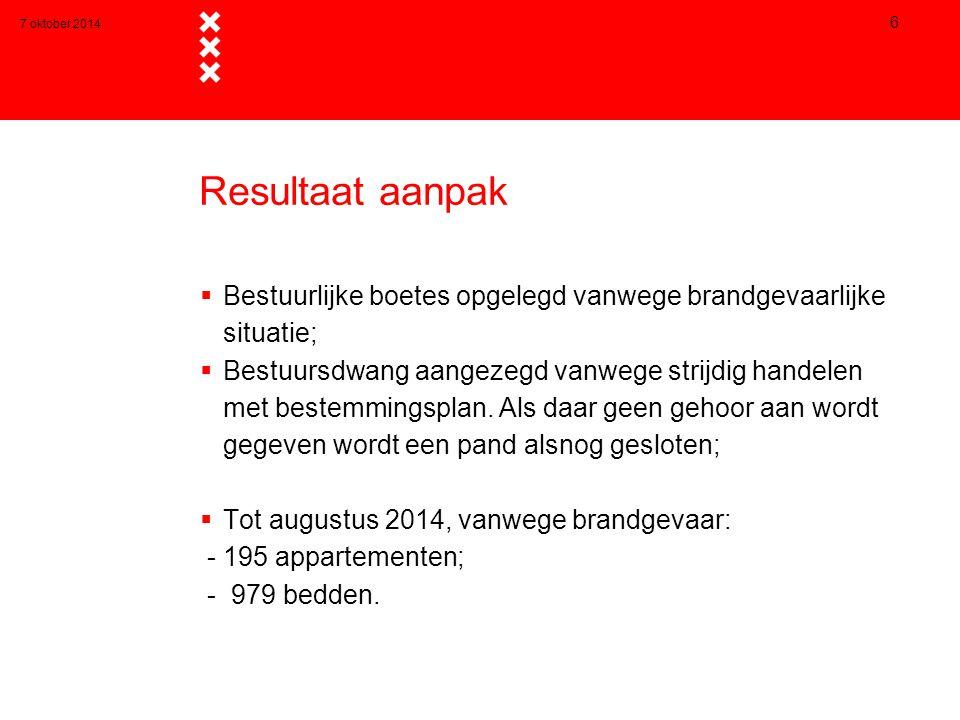 7 oktober 2014 Resultaat aanpak. Bestuurlijke boetes opgelegd vanwege brandgevaarlijke situatie;