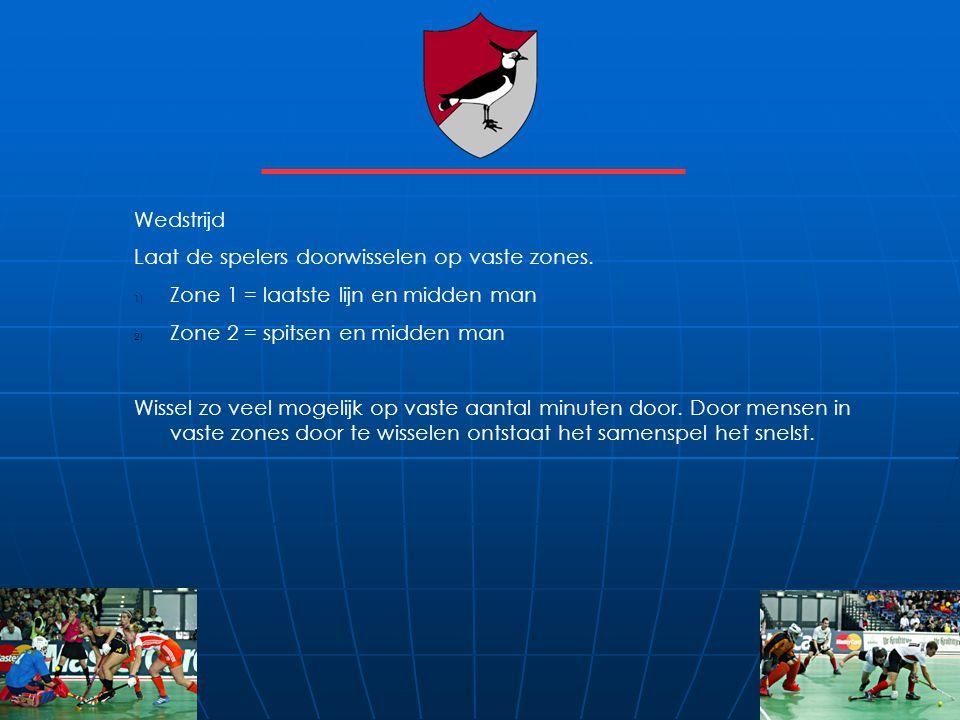 Wedstrijd Laat de spelers doorwisselen op vaste zones. Zone 1 = laatste lijn en midden man. Zone 2 = spitsen en midden man.